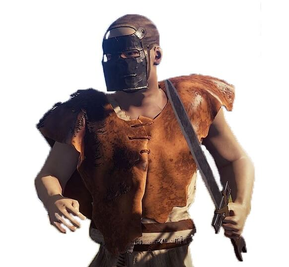 Rust character with mask